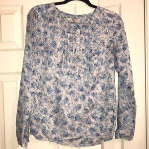 LOFT Blue/Gray Patterned Blouse